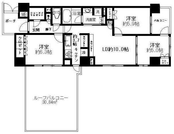 プレミスト東陽町の70.02㎡21万円のお部屋の見取り図
