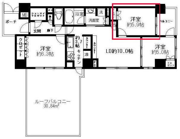 プレミスト東陽町の5.9帖の洋室の見取り図