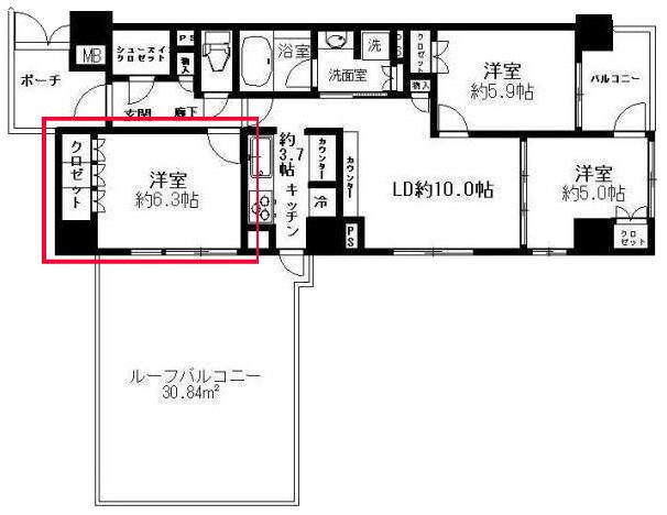 プレミスト東陽町の6.3帖の洋室の見取り図